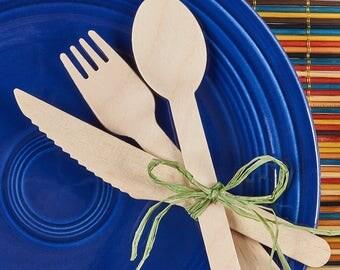 75  wood utensils, spoons,forks,knives, 100% Compostable