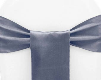 100 Chair Sashes Pewter    Wedding Chair Sashes,  Chair Bows , Satin Pew Bows , Party Bows Event