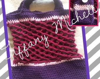 Purple & Pink Market Tote Bag with Coin Purse / Crochet Handmade