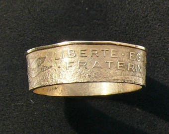 1964 France 20 Centimes coin ring featuring  Liberty,Equality and Fraternity, Ring Size 8 1/2 and Double Sided
