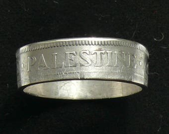 Distressed Silver Coin Ring 1927 Palestine 50 Mils Ring Size 7 and Double Sided Reduced