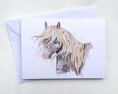 Dartmoor Pony Birthday Greeting Card // A6 size - blank inside - gift - stationery - horse - British wildlife - Devon