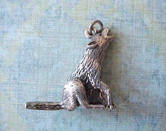 Darling Vintage Howling Coyote Sterling Silver Charm