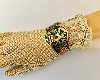 Cool Vintage Enameled Brass Cuff Bracelet for Virgo Girl