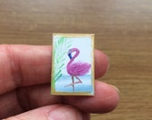Tiny flamingo Miniature Dolls House 1:24 scale Original Art  Landscape Painting Dollhouse
