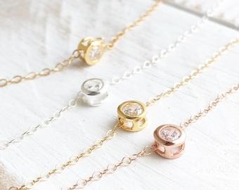 Solitaire Diamond Necklace, CZ Necklace, Circle Diamond Necklace, Gold Solitaire Necklace, Choker Necklace, Minimalist Necklace