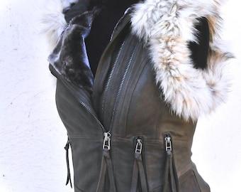 Leather steampunk vest, Olive green leather biker vest, Burning man leather festival  jacket sheepskin waistcoat
