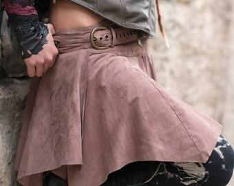NEW! Suede skirt, Burning Man skirt, Tribal skirt, boho suede skirt, steampunk suede skirt,