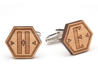Monogrammed Wood Cufflinks - Initial Wooden Cufflinks - Fifth Anniversary Gift - Gifts for Him - Groomsmen Cufflinks - Custom Groom Gift