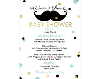 Mustache Printable Menu -- Boys Baby Shower -- Birthday -- Baptism -- Personalized Template -- Gold Black and Mint -- Little Man Party Decor