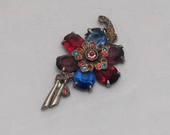 Vintage Sterling and Glass Jewel Brooch Pin - Boho, Hippie, 1960s