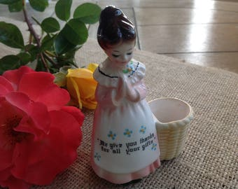 Enesco Praying Lady // Girl Toothpick Holder 'We Give You Thanks For All Your Gifts'