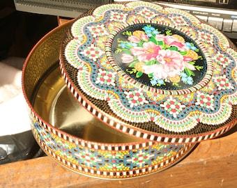 Vintage Tin, Made in England, Candy Tin, Cookie Tin, Vintage Box, Summer Decor, Wedding Decor, Home Decor, Bright Colors