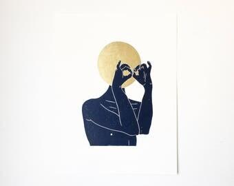 I Think I See You w/ Gold  //  Lino Print - Block Print - Modern Art - Linocut - Printmaking