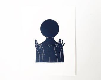 Not What You Think  //  Lino Print - Block Print - Modern Art - Linocut - Printmaking