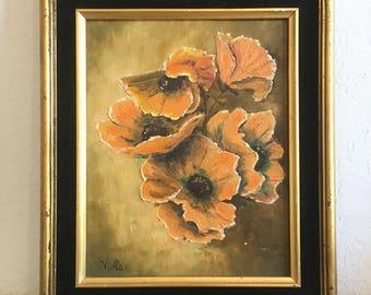 1970s California Poppies Painting