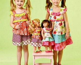 Dolly and Me Dress Pattern, Girls' Ruffle Dress Pattern, 18 inch Doll Dress Pattern, McCall's Sewing Pattern 7109