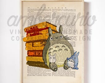 Studio Ghibli Inspired Reading Totoro in the Library Book Lover Original Art Print on Unique Antique Unframed Upcycled Bookpage