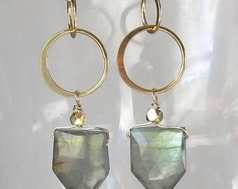Flashy Labradorite Pentagon Earrings in Gold