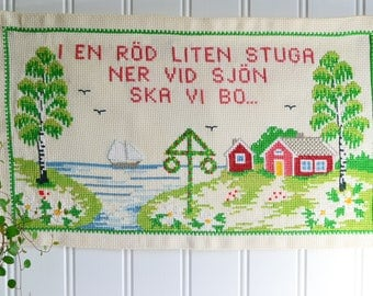 Wallhanging cross stitch embroidery, red cottage, vintage Swedish scenery