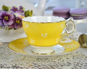 Cauldon Bright Yellow Teacup and Saucer, English Bone China Tea Cup Set, Garden Tea Party, ca. 1940-1950