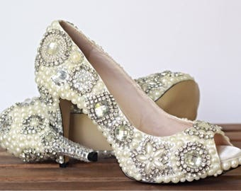 Wedding Shoes, Bridal  Shoes, Crystal Wedding Shoes, Pearl Heels, Custom Wedding Shoes, Embellished Wedding
