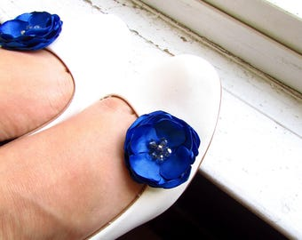 Royal Blue Bridesmaid Shoe Clips Horizon Bridal Silk Hair Flowers, Satin Blue Flower Girl hair, Floral Pin Belt Sash, Cobalt, Crystal beaded