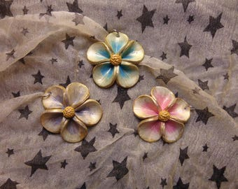 Gilded Five Petal Flower Pendant. Blue, Pink, Purple