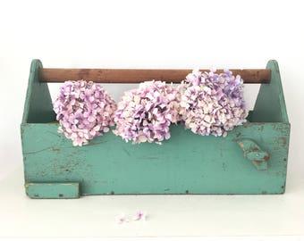 Vintage Tool Box - Wooden Tool Caddy  - Wedding Display - Wedding Card Holder - Wine Carrier - Cutlery Caddy - Garden Trug