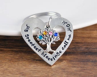 Gifts For Mom, Mom Keychain, Personalized Keychain Gifts For Mom, Family Tree Jewelry, Gift For Mother, Mother's  Keychains with Birthstones