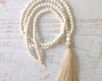 tassel necklace, yoga jewelry, bohemian necklace, neutral colours jewelry, fall colours
