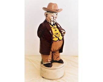 Southern Gentleman Decanter 1970's Ceramic Signed