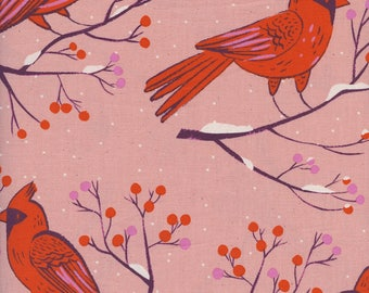 PRESALE - Frost - Winter Cardinals in Pink - Cotton + Steel Collab - 5185-002 - Half Yard
