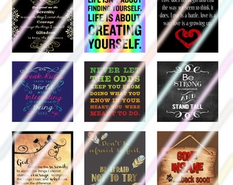 Sayings (#2) 1 inch Square Tile Images 4x6 Digital Collage Sheet Instant Download