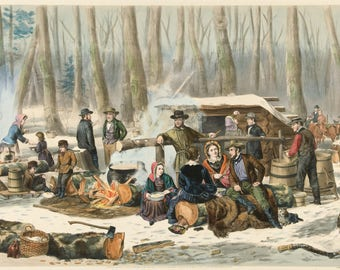 Currier and Ives: Reproductions - American Forest Scene - Maple Sugaring, 1856. Fine Art Print.