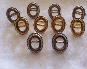 Lot of 10...Jewelry Ring Findings...Parts..Goldtone and Silvertone..Adjustable Ring Findings....