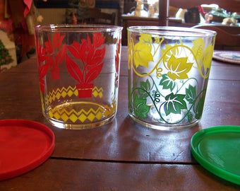 Set of 2 Vintage Sour Cream Glasses with Original Lids...Hazel Atlas..Tulip and Leaves...1960's..Great Condition..Collectible