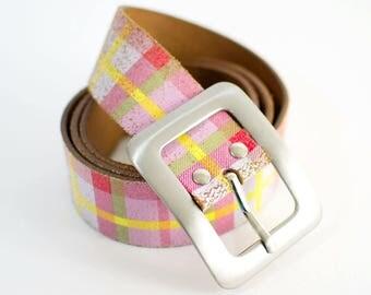 Vintage Women's Distressed Pastel Plaid Leather Belt Waist Medium 32 34 36 FREE UK SHIPPING