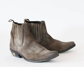 Vintage Brown Leather Cowboy Boots Indie Festival Women's UK 7 EU 41 US 9