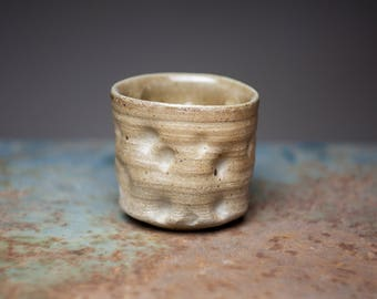 Wood fired stoneware ceramic pottery tea cup, yunomi