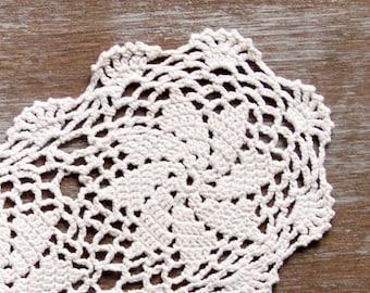 Cream Oval Crochet Doily ecru  Vintage doily