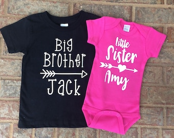 Personalized Sibling Outfit;Big Brother/Little Sister T-shirt and Bodysuit;Baptism Gift;Shower Gift;T-shirt and Bodysuit with Arrows