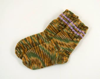 Knitted Wool Socks - Brown, Green and Orange, Size Extra Small