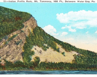 Vintage Post Card 1950s, Indian Profile Rock, Mt. Tammany, Delaware, Water Gap, PA. 1650 FT, Postcard, USA, Unposted, Mt. Minsi, Hiking