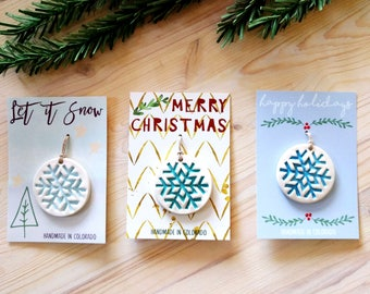 Snowflake Ornament on a Giftable Card- Handmade Holiday Ornaments, Stoneware glazed by hand! Christmas Ornament, in stock and ready to ship!