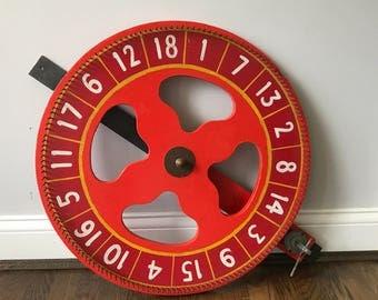 "Vintage 24"" Gambling Carnival Ticker Wheel"