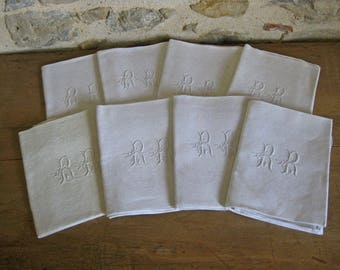 French damask napkins with hand embroidered monograms RR - 8 unused vintage linen serviettes