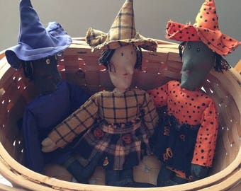 Finished Set of 3 Primitive Sisters Halloween Witch Dolls by Sew Practical, Mom and Pop Craft