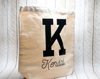 Block Initial Tote Bag, Name Tote Bag, Custom Tote Bag