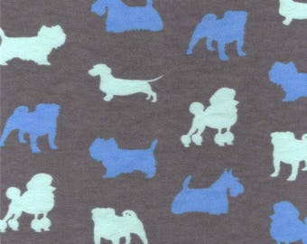 Snuggle Flannel Fabric - Blue Dog Silhouette - 21 inches